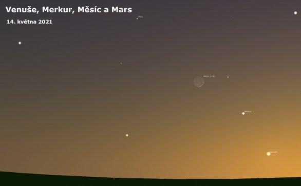 Venuše, Merkur a Mars ve společnosti měsíčního srpku Autor: Astro.cz/Stellarium/Lukáš Veselý