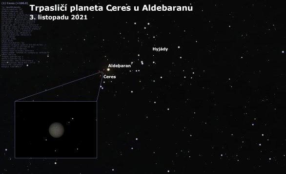 Trpasličí planeta Ceres těsně u jasné hvězdy Aldebaran Autor: Astro.cz/Stellarium/Lukáš Veselý