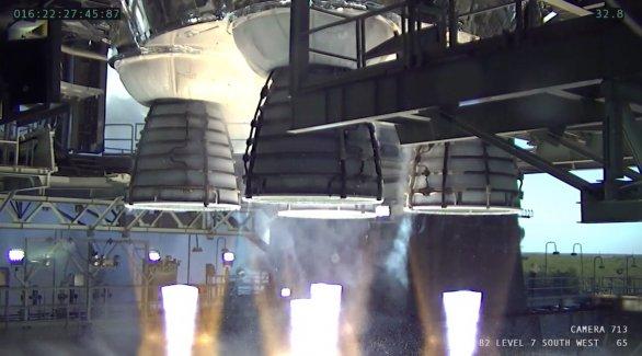 Test čtyř motorů RS-25 centrálního stupně SLS 16. ledna 2021 Autor: NASA TV