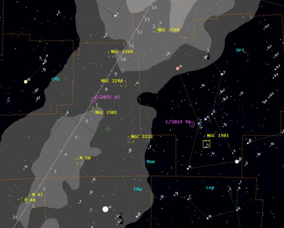 Polohy komety C/2021 A2 (NEOWISE) v první polovině února 2021 vždy ve 21:30 SEČ Autor: Guide 9