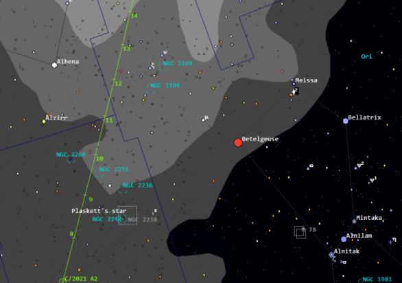 Pozice komety C/2021 A2 (NEOWISE) kolem 20:00 SEČ. Autor: Guide 9