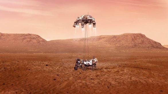 Ukázka, jak by mělo vypadat dosednutí vozítka Perseverance na Marsu