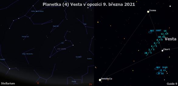 Planetka (4) Vesta kolem opozice 2021. Pozice ve 22:00 SEČ v souhvězdí Lva.