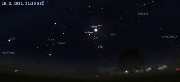 Konjunkce Měsíce s Hyádami a Marsem 19. 3. 2021