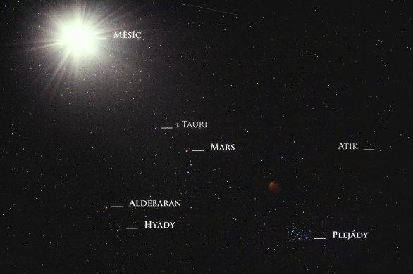 Měsíc poblíž Plejád, Hyád a Marsu Autor: Tonda Hudínek