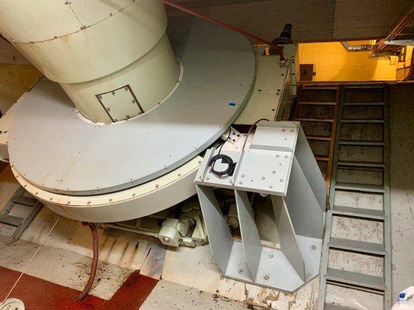 Detailní pohled na pohon hodinové osy dalekohledu Alfred Jensch na observatoři v Tautenburgu Autor: Zdeněk Bardon