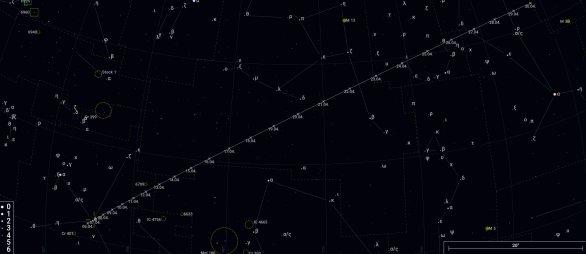 Náhledová mapka pro kometu C/2020 R4 (ATLAS) vygenerovaná na projektu CzSky. Autor: https://www.czsky.cz/