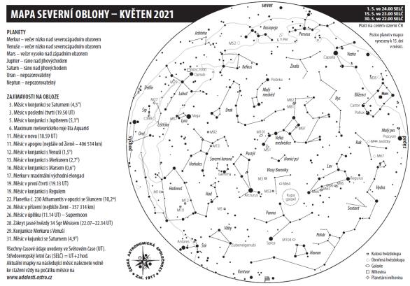 Mapa oblohy s úkazy v květnu 2021 Autor: Aleš Majer