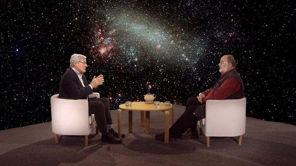 Prof. Jan Palouš s moderátorem Jindřichem Suchánkem v pořadu Hlubinami vesmíru Autor: TV Noe