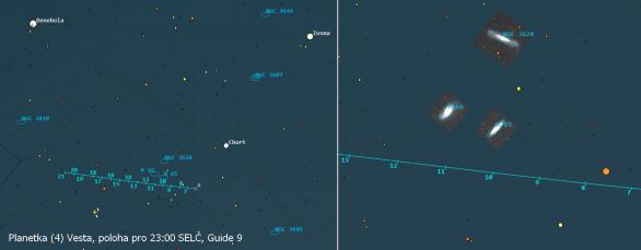 Planetka Vesta poblíž Leo tripletu ve 23. týdnu roku 2021