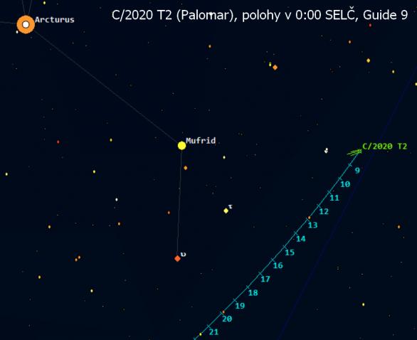 Kometa ve 23. týdnu roku 2021 poblíž Arctura v Pastýři