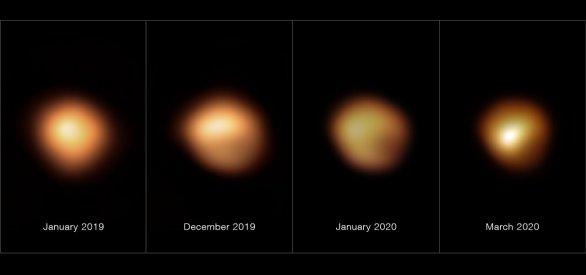 Snímky pořízené přístrojem SPHERE na dalekohledu ESO/VLT zachycují povrchové vrstvy rudého veleobra Betelgeuse během období výrazného snížení jasnosti na konci roku 2019 a začátku roku 2020. Snímek úplně vlevo byl pořízen v lednu 2019 a zachycuje hvězdu při běžné jasnosti, ostatní záběry z prosince 2019, ledna 2020 a března 2020 byly pořízeny v době, kdy jasnost hvězdy výrazně poklesla (tento pokles je dobře patrný především na jižní polokouli hvězdy). Jasnost Betelgeuse se vrátila k normálu v dubnu 2020. Autor: ESO/M. Montargès et al.