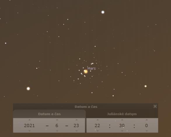 Mars v Jesličkách 23. června 2021 v simulaci Stellaria