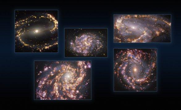 Pět galaxií pohledem VLT/MUSE na různých vlnových délkách Autor: ESO/PHANGS