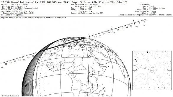 Informace k zákrytu hvězdy planetkou Morellet 3. 9. 2021