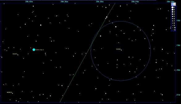 Hvězdné pole s vyznačenou hvězdou, kterou zakryje planetka Morellet