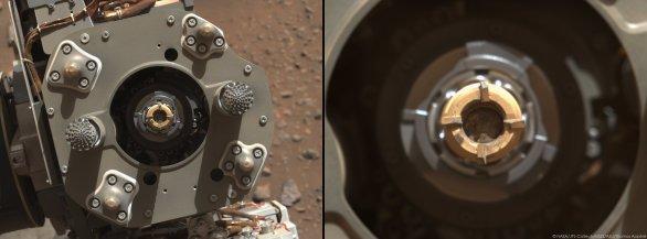 Sol 190, 3. 9. 2021, detail odběrového zařízení se vzorkem horniny z kamene Rochette Autor: NASA/JPL-Caltech
