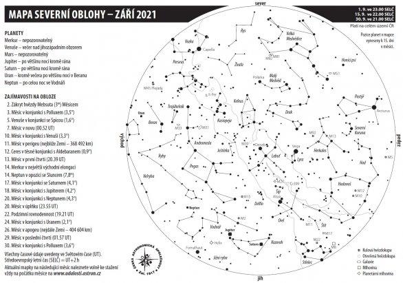 Mapa oblohy s úkazy v září 2021