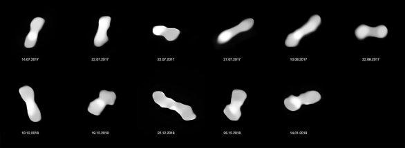 Těchto jedenáct snímků zachycuje planetku Kleopatra zobrazenou díky rotaci z různých stran. Záběry byly pořízeny mezi lety 2017 až 2019 pomocí přístroje SPHERE (Spectro-Polarimetric High-contrast Exoplanet Research) a dalekohledu ESO/VLT. Autor: ESO/Vernazza, Marchis et al./MISTRAL algorithm (ONERA/CNRS)
