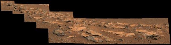 Mozaika snímků vyfocená roverem Perseverance ukazuje kamennou formaci v oblasti zvané Citadelle na dně kráteru Jezero Autor: NASA/JPL-Caltech/ASU/MSSS