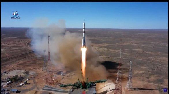 Start rakety Sojuz s kosmickou lodí Sojuz MS-19 5. 10. 2021 Autor: Roskosmos
