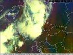 MCS nad střední Evropou z družice Meteosat (Airmass). Autor: EUMESAT.
