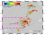 Pozice blesků z detektorů LINED, oblast zájmu a přibližný směr taneční skupiny Red sprites. Autor: Jozsef Bór