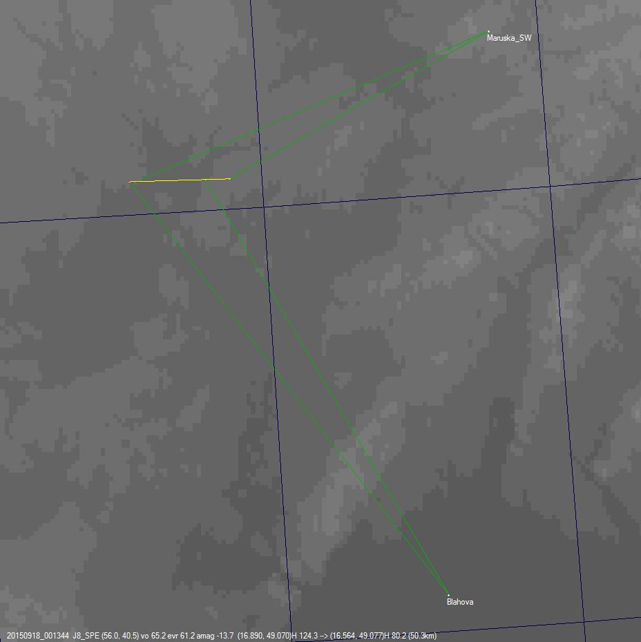 Projekce dráhy bolidu 20150918_001344 na povrch Země. Autor: Jakub Koukal