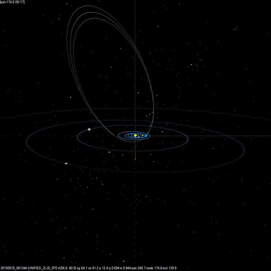 Projekce dráhy bolidu 20150918_001344 ve Sluneční soustavě. Autor: Jakub Koukal