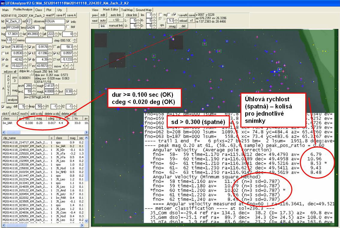 Výsledek vyhodnocení slabého a krátkého meteoru v automatickém režimu programu UFO Analyzer. Autor: Jakub Koukal