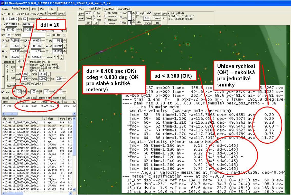 Výsledek vyhodnocení slabého a krátkého meteoru v poloautomatického režimu se změnou parametru ddl, první a poslední snímek sekvence je ignorován. Autor: Jakub Koukal
