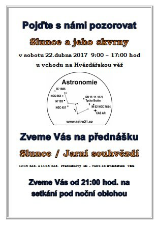 Pozorování oblohy u Hvězdářské věře v Chomutově 22. dubna 2017. Autor: Astro21.cz.